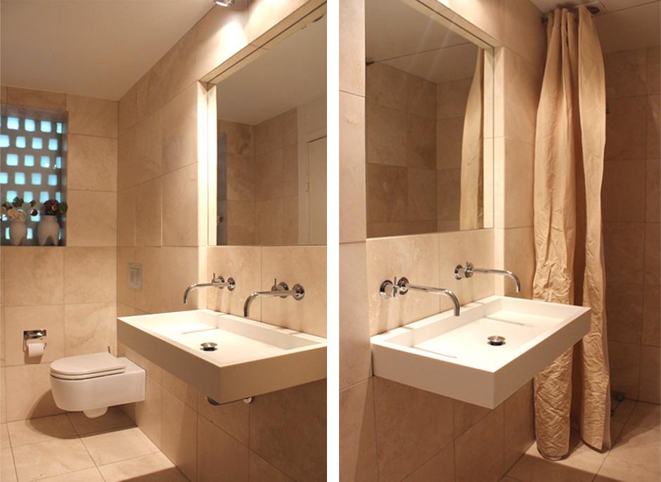 HareskovByTegnestuen - Badeværelse med italiensk håndvask og travertin klinker