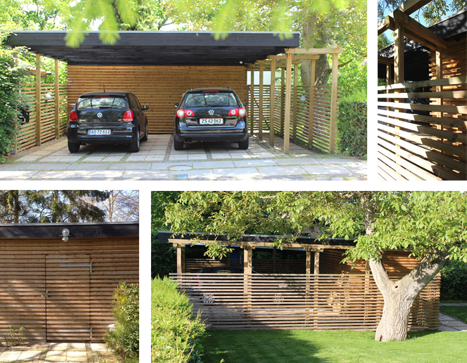 HareskovByTegnestuen - Carport og haveskur i egetræ