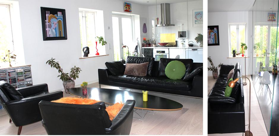 HareskovByTegnestuen - Glasvæg mellem stue og køkken